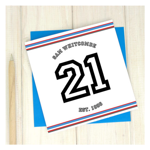 Personalised,Sport,21st,Birthday,Age,Card,Personalised Sport Birthday Age Card  - 21st Birthday Card - card for him- Sport birthday card - card for her - birthday card - 16th birthday card - 18th birthday card - 21st birthday card - 40th birthday card - 50th birthday card