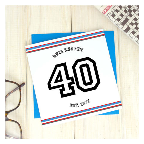 Personalised,Sport,40th,Birthday,Age,Card,Personalised Sport Birthday Age Card  - 40th Birthday Card - card for him- Sport birthday card - card for her - birthday card - 16th birthday card - 18th birthday card - 21st birthday card - 40th birthday card - 50th birthday card
