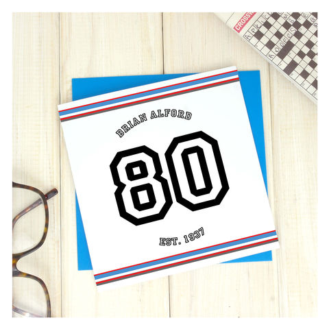 Personalised,Sport,80th,Birthday,Age,Card,Personalised Sport Birthday Age Card  - 80th Birthday Card - card for him- Sport birthday card - card for her - birthday card - 16th birthday card - 18th birthday card - 21st birthday card - 40th birthday card - 50th birthday card