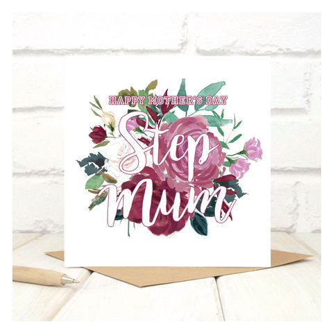 Personalised,Bouquet,Step,Mother,Card,Personalised Bouquet Stepmum Card - Mothers Day - Stepmum Card - Mother Card- Mum - Mother - Greetings Card
