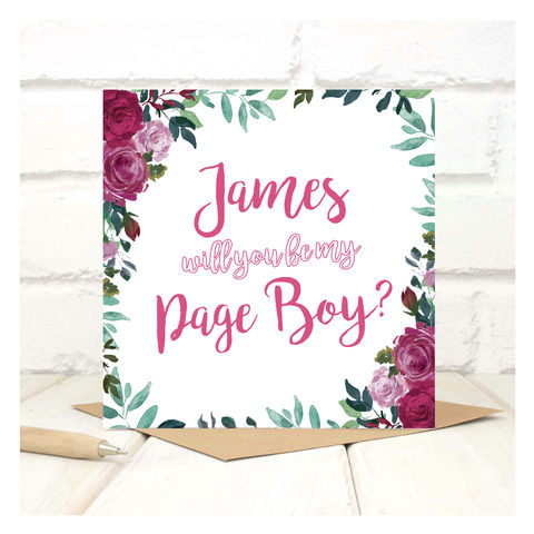 Personalised,Will,You,Be,My,Page,Boy,Card,Personalised Will You Be My Page Boy Card - Wedding Card - Maid Of Honour -Bridesmaid -Page Boy - Greetings Card - Wedding -Weddings