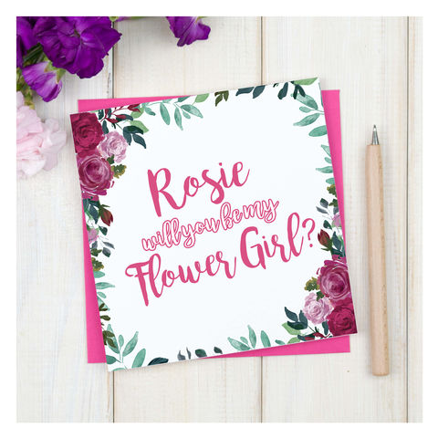 Personalised,Will,You,Be,My,Flower,Girl,Card,Personalised Will You Be My Flower Girl Card - Wedding Card - Flower Girl- Maid Of Honour -Bridesmaid -Page Boy - Greetings Card - Wedding -Weddings