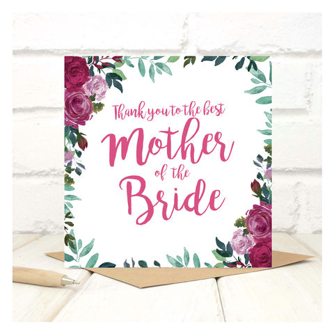 Personalised,Thank,You,Mother,Of,The,Bride,Card,Personalised Thank You Mother Of The Bride Card - Wedding Card - Mother- Thank you- Maid Of Honour -Bridesmaid -Page Boy - Greetings Card - Wedding -Weddings