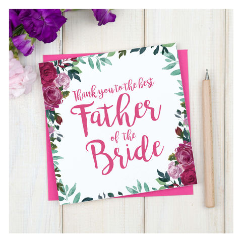 Personalised,Thank,You,Father,Of,The,Bride,Card,Personalised Thank You Father Of The Bride Card - Wedding Card - Father - Thank you- Maid Of Honour -Bridesmaid -Page Boy - Greetings Card - Wedding -Weddings