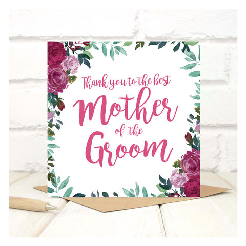 Personalised,Thank,You,Mother,Of,The,Groom,Card,Personalised Thank You Mother Of The Groom Card - Wedding Card - Mother - Thank you- Maid Of Honour -Bridesmaid -Page Boy - Greetings Card - Wedding -Weddings