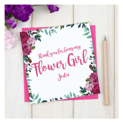 Personalised,Thank,You,Flower,Girl,Card,Personalised Thank You Flower Girl Card - Wedding Card - Flower Girl - Thank you- Maid Of Honour -Bridesmaid -Page Boy - Greetings Card - Wedding -Weddings