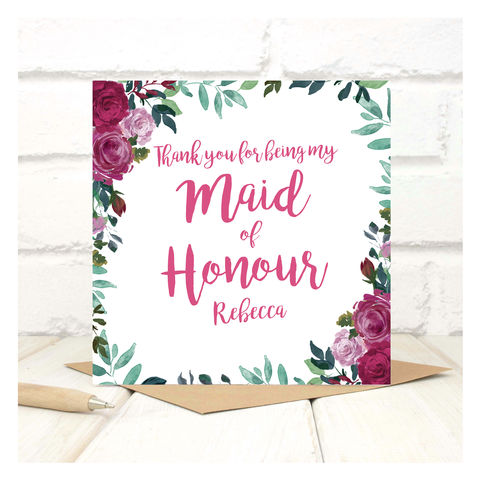 Personalised,Thank,You,Maid,Of,Honour,Card,Personalised Thank You Maid Of Honour Card - Wedding Card - Flower Girl - Thank you- Maid Of Honour -Bridesmaid -Page Boy - Greetings Card - Wedding -Weddings