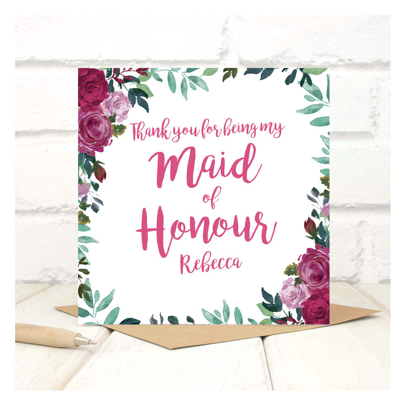 Personalised Thank You Bridesmaid Floral Card - product images  of