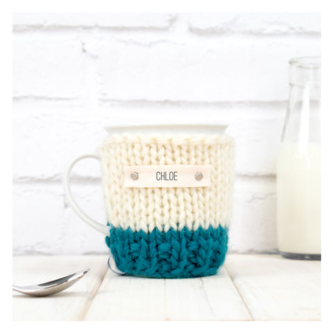 Personalised,Colour,Block,Mug,Cosy,And,-,Teal,Mug Cosy, Colour Block Mug Cosy, Tea, Mug and Cosy - Chunky Knit Purple and Cream Mug Cozy - Personalised Knitted Mug Cosy - Hand Knitted Mug Cosy and Mug - Birthday Tea Gift