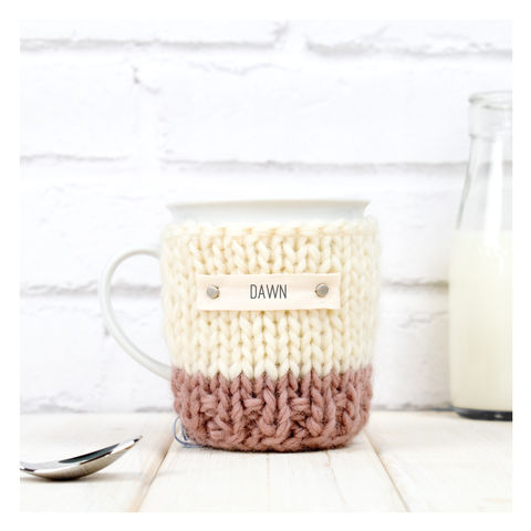 Personalised,Colour,Block,Mug,Cosy,And,-,Blush,Pink,Mug Cosy, Colour Block Mug Cosy, Tea, Mug and Cosy - Chunky Knit Purple and Cream Mug Cozy - Personalised Knitted Mug Cosy - Hand Knitted Mug Cosy and Mug - Birthday Tea Gift
