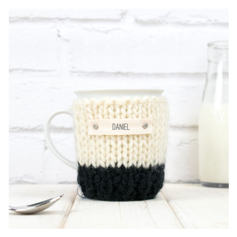 Personalised,Colour,Block,Mug,Cosy,And,-,Black,Mug Cosy, Colour Block Mug Cosy, Tea, Mug and Cosy - Chunky Knit Purple and Cream Mug Cozy - Personalised Knitted Mug Cosy - Hand Knitted Mug Cosy and Mug - Birthday Tea Gift