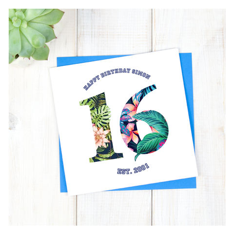 Personalised,Hawaiian,Boys,16th,Birthday,Card,Personalised Hawaiian Boys 16th Birthday Card  - 16th Birthday Card - card for him- Hawaiian birthday card - card for her - birthday card - 16th birthday card - 18th birthday card - 21st birthday card - 40th birthday card - 50th birthday card