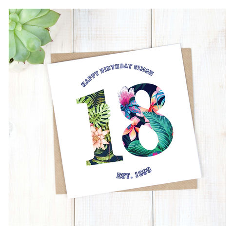 Personalised,Hawaiian,Boys,18th,Birthday,Card,Personalised Hawaiian Boys 18th Birthday Card  - 18th Birthday Card - card for him- Hawaiian birthday card - card for her - birthday card - 16th birthday card - 18th birthday card - 21st birthday card - 40th birthday card - 50th birthday card