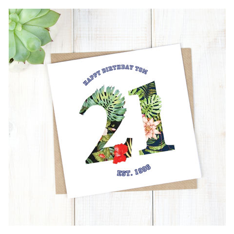 Personalised,Hawaiian,Boys,21st,Birthday,Card,Personalised Hawaiian Boys 21st Birthday Card  - 21st Birthday Card - card for him- Hawaiian birthday card - card for her - birthday card - 16th birthday card - 18th birthday card - 21st birthday card - 40th birthday card - 50th birthday card