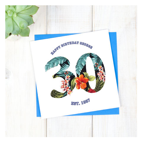 Personalised,Hawaiian,Boys,30th,Birthday,Card,Personalised Hawaiian Boys 30th Birthday Card  - 30th Birthday Card - card for him- Hawaiian birthday card - card for her - birthday card - 16th birthday card - 18th birthday card - 21st birthday card - 40th birthday card - 50th birthday card