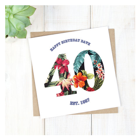 Personalised,Hawaiian,Boys,40th,Birthday,Card,Personalised Hawaiian Boys 40th Birthday Card  - 40th Birthday Card - card for him- Hawaiian birthday card - card for her - birthday card - 16th birthday card - 18th birthday card - 21st birthday card - 40th birthday card - 50th birthday card