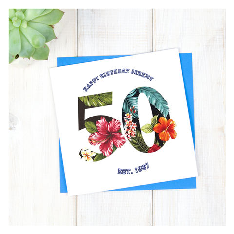 Personalised,Hawaiian,Boys,50th,Birthday,Card,Personalised Hawaiian Boys 50th Birthday Card  - 50th Birthday Card - card for him- Hawaiian birthday card - card for her - birthday card - 16th birthday card - 18th birthday card - 21st birthday card - 40th birthday card - 50th birthday card