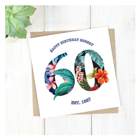 Personalised,Hawaiian,Boys,60th,Birthday,Card,Personalised Hawaiian Boys 60th Birthday Card  - 60th Birthday Card - card for him- Hawaiian birthday card - card for her - birthday card - 16th birthday card - 18th birthday card - 21st birthday card - 40th birthday card - 50th birthday card