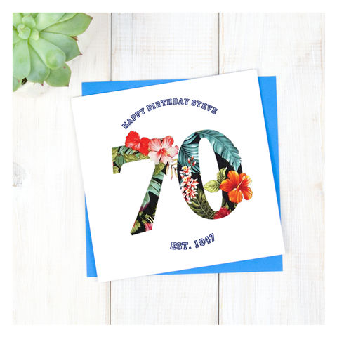 Personalised,Hawaiian,Boys,70th,Birthday,Card,Personalised Hawaiian Boys 70th Birthday Card  - 70th Birthday Card - card for him- Hawaiian birthday card - card for her - birthday card - 16th birthday card - 18th birthday card - 21st birthday card - 40th birthday card - 50th birthday card