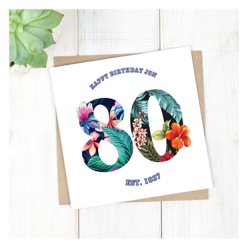 Personalised,Hawaiian,Boys,80th,Birthday,Card,Personalised Hawaiian Boys 80th Birthday Card  - 80th Birthday Card - card for him- Hawaiian birthday card - card for her - birthday card - 16th birthday card - 18th birthday card - 21st birthday card - 40th birthday card - 50th birthday card