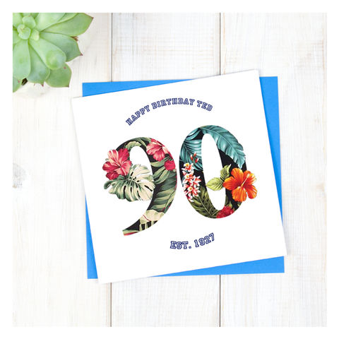 Personalised,Hawaiian,Boys,90th,Birthday,Card,Personalised Hawaiian Boys 90th Birthday Card  - 90th Birthday Card - card for him- Hawaiian birthday card - card for her - birthday card - 16th birthday card - 18th birthday card - 21st birthday card - 40th birthday card - 50th birthday card