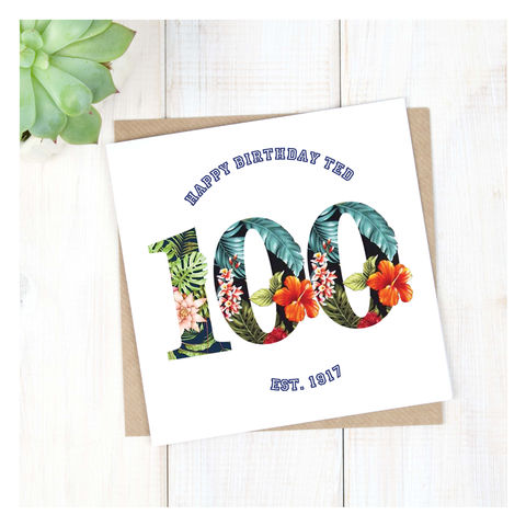 Personalised,Hawaiian,Boys,100th,Birthday,Card,Personalised Hawaiian Boys 100th Birthday Card  - 100th Birthday Card - card for him- Hawaiian birthday card - card for her - birthday card - 16th birthday card - 18th birthday card - 21st birthday card - 40th birthday card - 50th birthday card