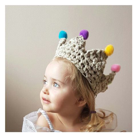 Children's Crochet Pom Pom Crown - product images  of