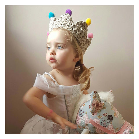 Children's,Crochet,Pom,Crown,-,Gold,Children's Crochet Pom Pom Crown - Pom Pom Crown - Crown - Children Dress Up - Princess -Prince -Children -Childrens Clothes