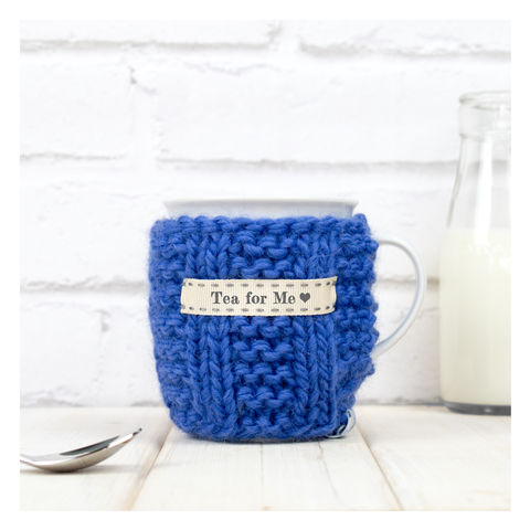 Personalised,Knitted,Mug,Cosy,-,Cornflower,Blue,Personalised Mug Cosy, Knitted, Made in Britain, Mug and Cosy - Personalised Knitted Mug Cosy and Mug - Eco Friendly Mug Cozy - Wool Mug Cosy - Rustic - Tea Accessory - Tea Lover - Tea Gift