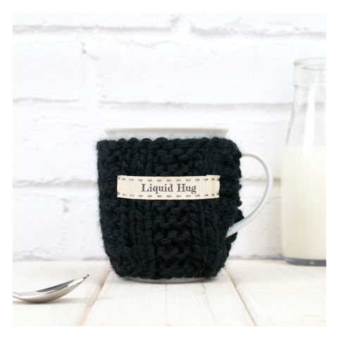 Personalised,Knitted,Mug,Cosy,-,Black,Personalised Mug Cosy, Knitted, Made in Britain, Mug and Cosy - Personalised Knitted Mug Cosy and Mug - Eco Friendly Mug Cozy - Wool Mug Cosy - Rustic - Tea Accessory - Tea Lover - Tea Gift