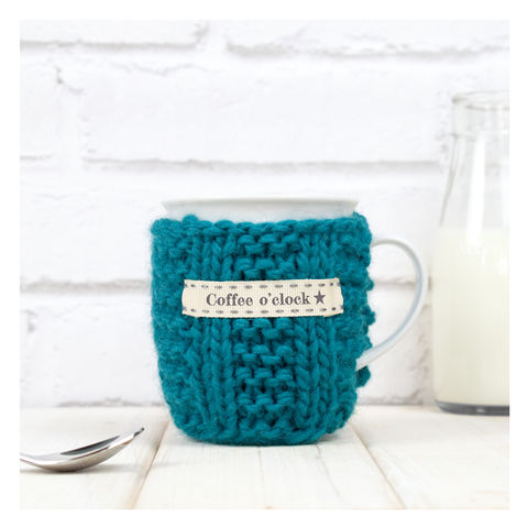 Personalised,Knitted,Mug,Cosy,-,Teal,Personalised Mug Cosy, Knitted, Made in Britain, Mug and Cosy - Personalised Knitted Mug Cosy and Mug - Eco Friendly Mug Cozy - Wool Mug Cosy - Rustic - Tea Accessory - Tea Lover - Tea Gift