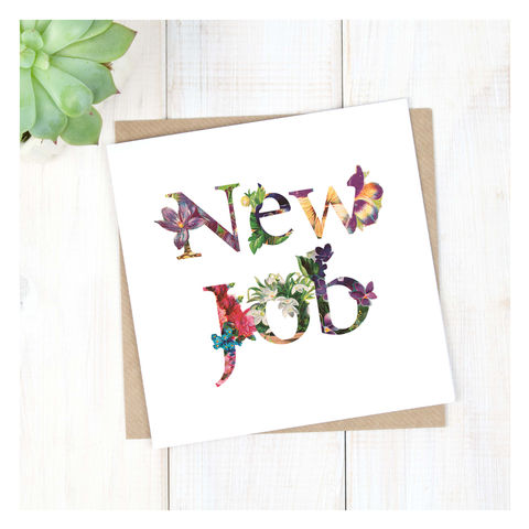 Personalised,Floral,New,Job,Card,Personalised Floral New Job Card - New Jpb -Job - Celebration - Congratulations New Job - New Job - First Job