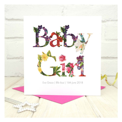Personalised,New,Baby,Girl,Card,Personalised New Baby Girl Card - Mothers Day - New Baby - Baby Girl - Newborn Baby - Mother - Greetings Card