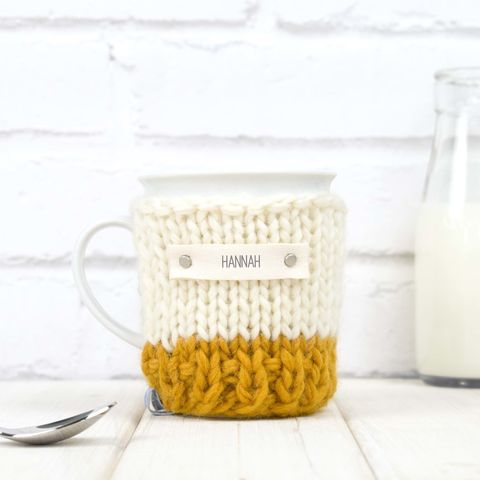 Personalised,Colour,Block,Cosy,And,Mug,-,Yellow,(Seconds,Mug),Personalised Colour Block Mug Cosy And Mug, Made in Britain, Mug and Cosy - Yellow Knitted Mug Cosy - Chunky Mug Cosy - Hand Knitted Mug Cozy - Chunky Cosy - Tea Accessory - Gifts for Him - Tea Lover