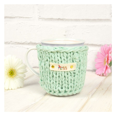 Personalised,Pastel,Chunky,Mug,Cosy,-,Mint,Green,Personalised Mug Cosy, Knitted, Made in Britain, Mug and Knitted Cosy - Pastel Mug Cosy - White China Mug - Easter Mug Cozy - Housewarming Gift - Tea Accessory - Chunky Knit Cosy