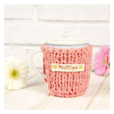 Personalised,Pastel,Chunky,Mug,Cosy,-,Peach,Personalised Mug Cosy, Knitted, Made in Britain, Mug and Knitted Cosy - Pastel Mug Cosy - White China Mug - Easter Mug Cozy - Housewarming Gift - Tea Accessory - Chunky Knit Cosy