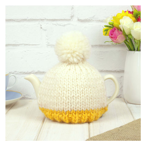 Personalised,Two,Cup,Colour,Block,Tea,Cosy,-,Mustard,Personalised Two Cup Colour Block Tea Cosy -Mustard - Mustard Tea Cosy - Yellow Tea Pot - Tea Pot - Tea Pot Cosy - Red and Cream - Tea Cosy