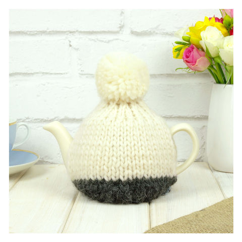 Personalised,Two,Cup,Colour,Block,Tea,Cosy,-,Charcoal,Grey,Personalised Two Cup Colour Block Tea Cosy - Grey - Grey Tea Cosy - Grey Tea Pot - Tea Pot - Tea Pot Cosy - Red and Cream - Tea Cosy
