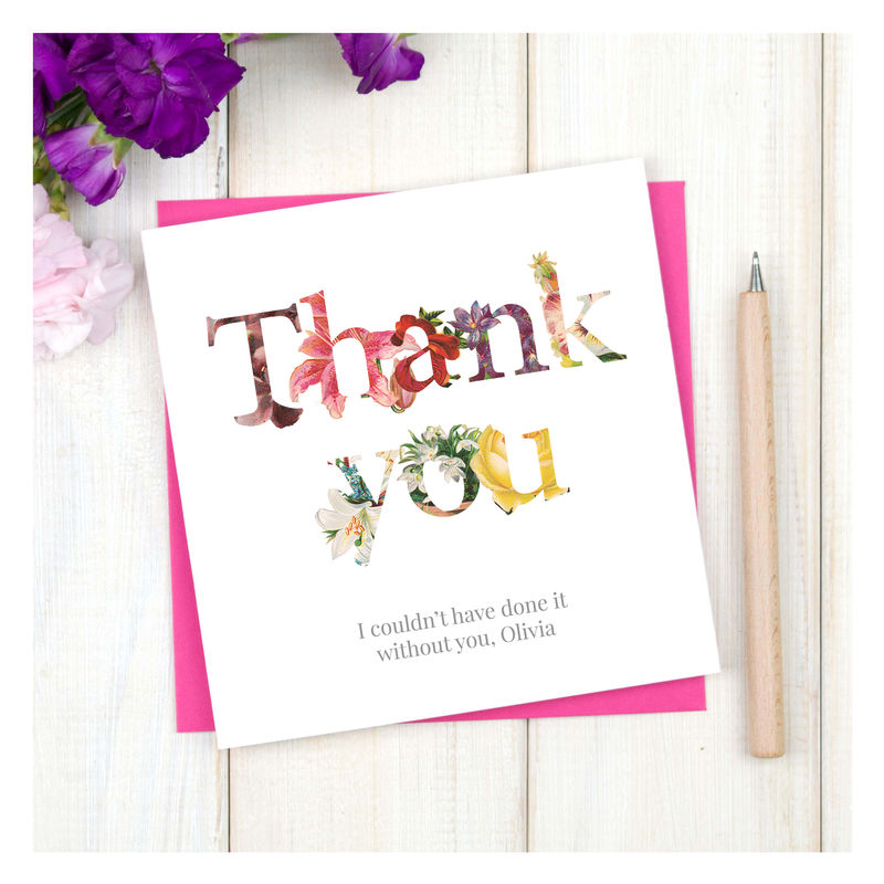 Personalised Floral Thank You Card - product images  of
