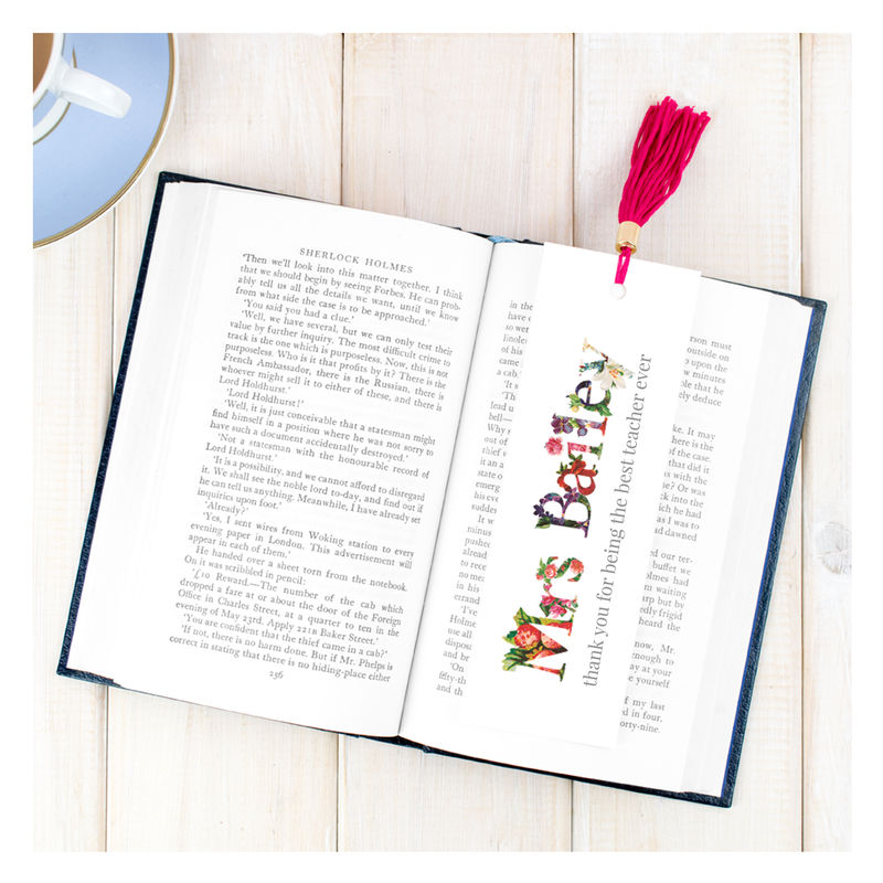 Personalised Floral Thank You Teacher Bookmark - product images  of