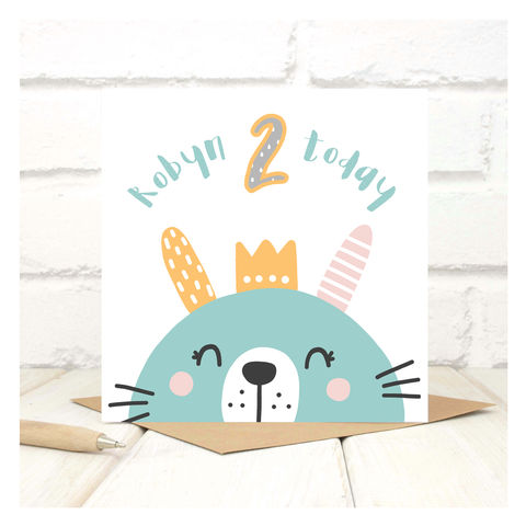Personalised,'Party,Animal',2nd,Birthday,Card,Personalised 'Party Animal' 2nd Birthday Card  - 1st Birthday Card - card for kids - Cards for children - Animal birthday card - card for her - birthday card - 2nd  birthday card - 3rd birthday card - 4th birthday card - 5th birthday card - 6th birthday c