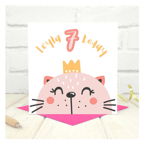 Personalised,'Party,Animal',7th,Birthday,Card,Personalised 'Party Animal' 7th Birthday Card  - card for kids - Cards for children - Zoo animal birthday card - card for niece - birthday card