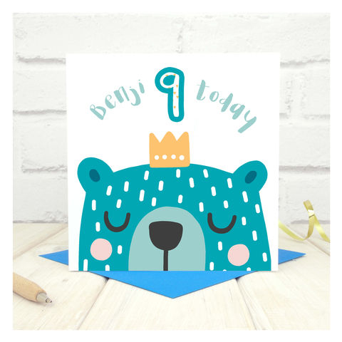 Personalised,'Party,Animal',9th,Birthday,Card,Personalised 'Party Animal' 9th Birthday Card  - card for kids - Keepsake cards for children - farm animal birthday card - card for cousin - birthday card