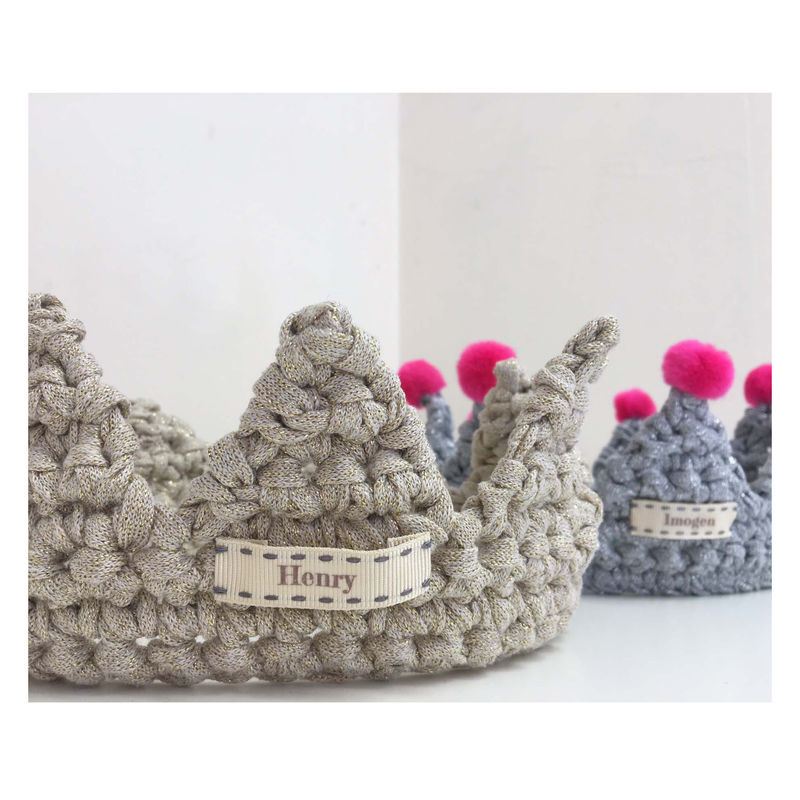 Children's Crochet Pom Pom Crown - Gold - product images  of