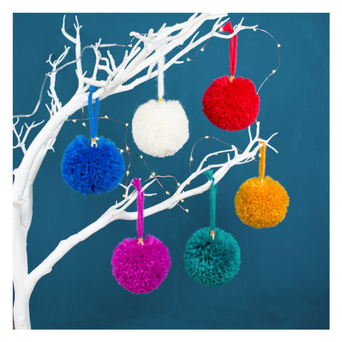 Pom,Christmas,Tree,Bauble,Set,Pom Pom Christmas Tree Bauble Set - Pom Poms - Pom Pom Bauble - Christmas Bauble - Christmas Tree Decoration - Tree Decoration - Christmas Tree - Pom Pom Decoration -Pom Pom Set