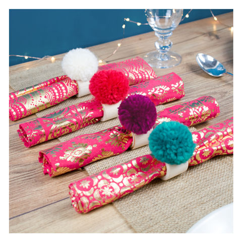 Personalised,Pom,Napkin,Rings,Personalised Pom Pom Napkin Rings - Pom Pom Napkins - Napkin Rings - Christmas Napkin Rings - Christmas Decor - Pom Pom Napkin Rings - Napkins -Pom Poms