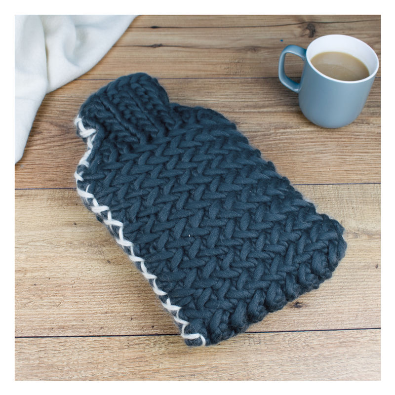 Luxury Herringbone Chunky Hot Water Bottle - product images  of