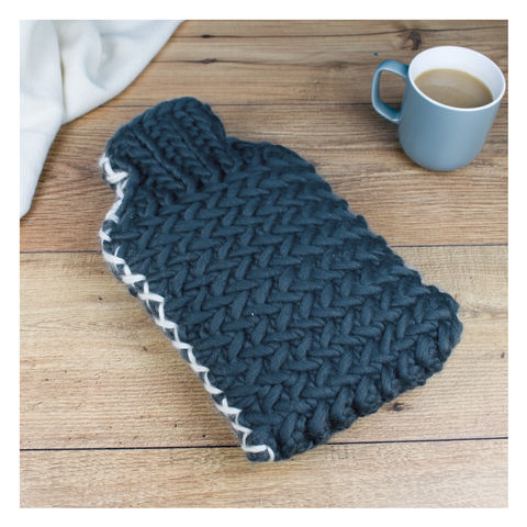 Luxury,Herringbone,Chunky,Hot,Water,Bottle,Luxury Herringbone Chunky Hot Water Bottle -  Chunky Knit Hot Water Bottle - Herringbone Knit Hot Water Bottle - Crown Hot Water Bottle - Personalised Hot Water Bottle - Hot Water Bottle - Slate Grey Hot Water Bottle - Cream Hot Water Bottle