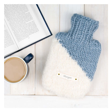 Personalised,Contrast,Mini,Hot,Water,Bottle,And,Cover,Personalised Contrast Mini Hot Water Bottle And Cover - Colour Block Hot Water Bottle - Hot Water Bottle Cover - Teal Hot Water Bottle Cover - Cream Hot Water Bottle Cover - Blush Pink Hot Water Bottle Cover - Denim Blue Hot Water Bottle Cover - Cosy Hot