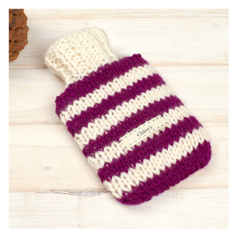 Hand,Knitted,Striped,Mini,Hot,Water,Bottle,And,Cover,-,Wine,&,Cream,Stripe,Mini Hot Water Bottle. Cosy. Stripey, Mini Hot Water Bottle and Cover - Black And White Striped Hot Water Bottle - Travel Hot Water Bottle - Personalised Hot Water Bottle Cover